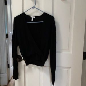 Leith black ribbed top